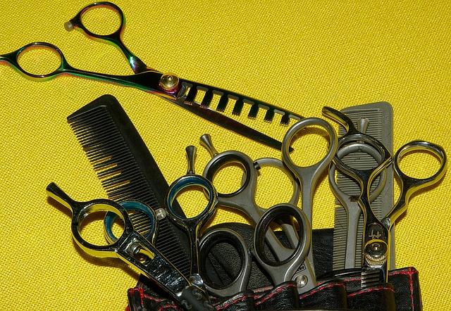 kadeřnické nůžky a hřebeny